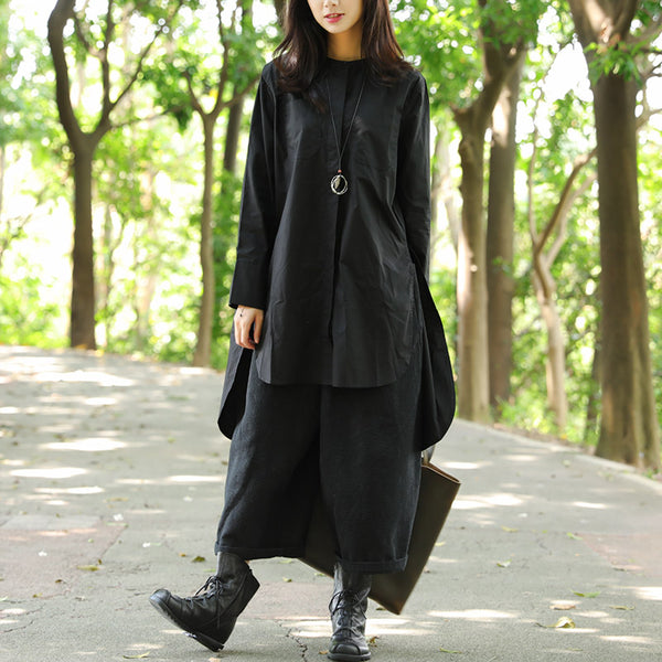 Single Breasted Buttons Pockets Slit Black Long Shirt - Buykud