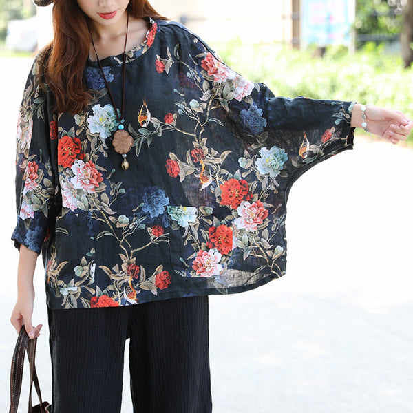 Women Retro Three Quarter Sleeve Pockets Printing Slit Shirt - Buykud