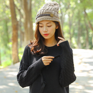 Casual Women's Winter Splicing Knitted Khaki Hats - Buykud