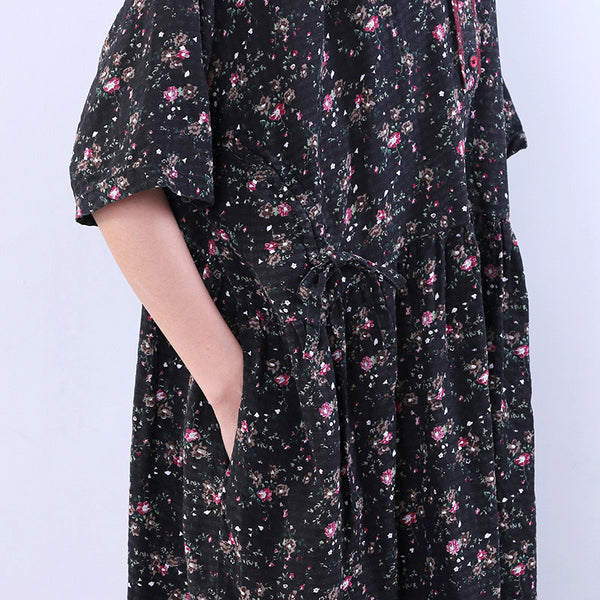Floral Women Retro Loose String Cotton Linen Casual Black Dress - Buykud