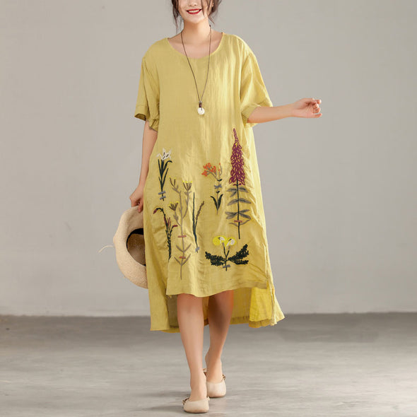 Embroidery Irregular Cotton Linen Short Sleeve Yellow Dress - Buykud
