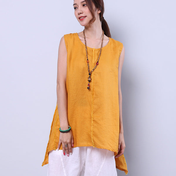 Loose Irregular Summer Women Casual Splicing Sweet Yellow Shirt