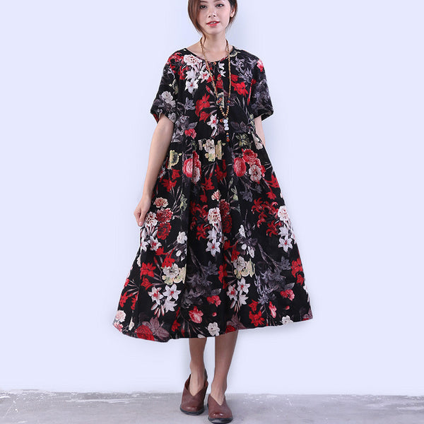Women Casual Button Pocket Printing Black Dress