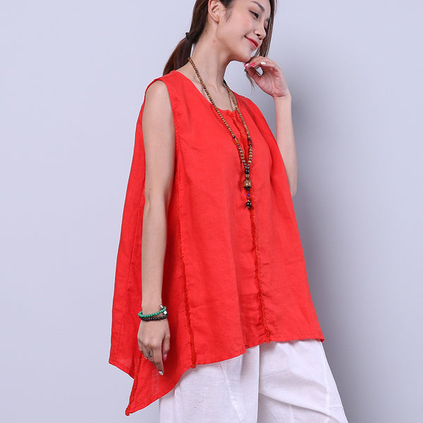 Loose Irregular Summer Women Casual Splicing Sweet Red Shirt
