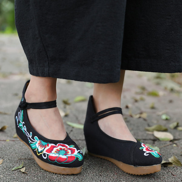 Chinese Style Exquisite Flower Embroidered Cloth Shoes For Women Black - Buykud