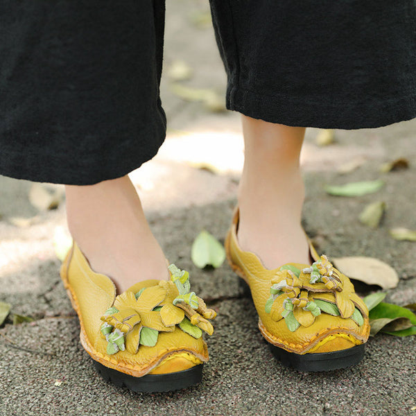 Retro Leather Yellow Splicing Portable Slip On Single Shoes For Women - Buykud