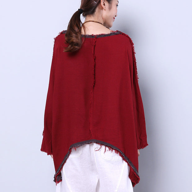Cotton Linen Loose Irregular Women Splicing Splitting Red Shirt - Buykud