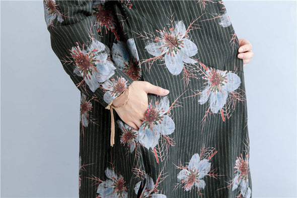 Printing Long Sleeve Stripe Floral Casual Blouses For Women - Buykud