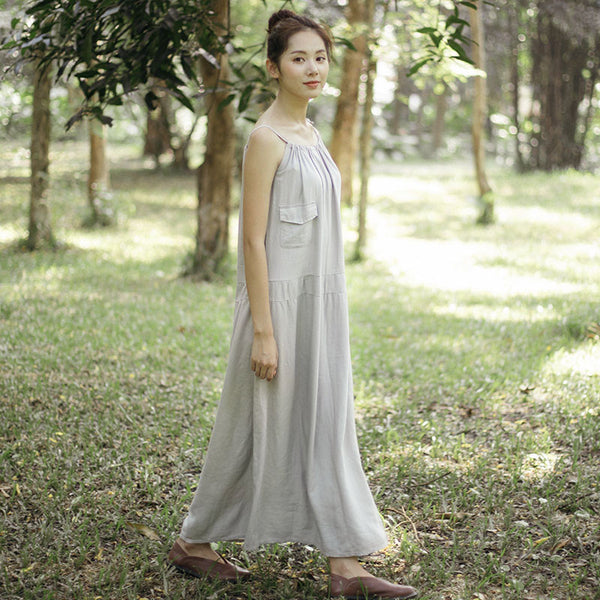 Casual Loose literature Cotton Linen Splicing Light Gray Dress - Buykud