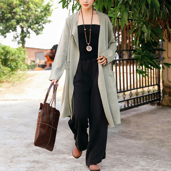 Women Long Sleeve Pockets Back Slit Casual Loose Cardigan Coat - Buykud