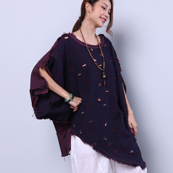 Irregular Casual Hole Slit Bat Sleeve Purple Shirt