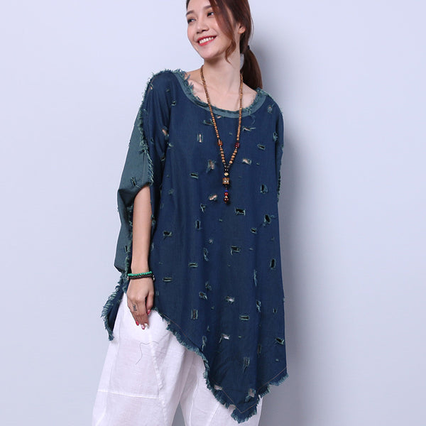 Irregular Casual Hole Slit Bat Sleeve Navy Blue Shirt