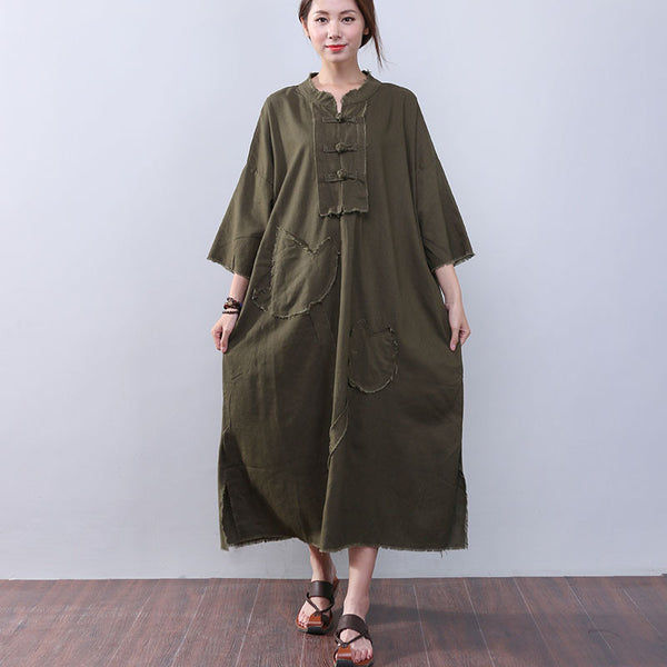 Loose Slit Splicing Frog Long Sleeves Green Dress