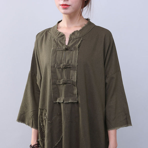Loose Slit Splicing Frog Long Sleeves Green Dress - Buykud