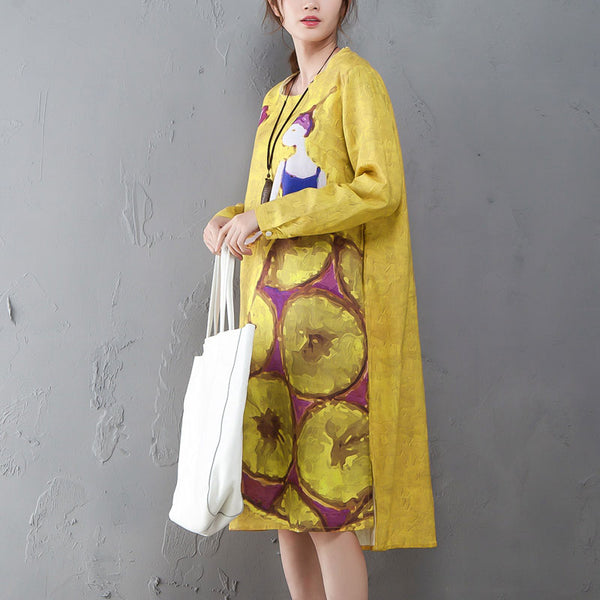 Printed Round Neck Long Sleeve Irregular Yellow Ramie Dress - Buykud
