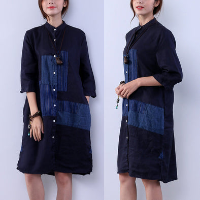 Loose Women Pocket Button Splicing Navy Blue Dress - Buykud