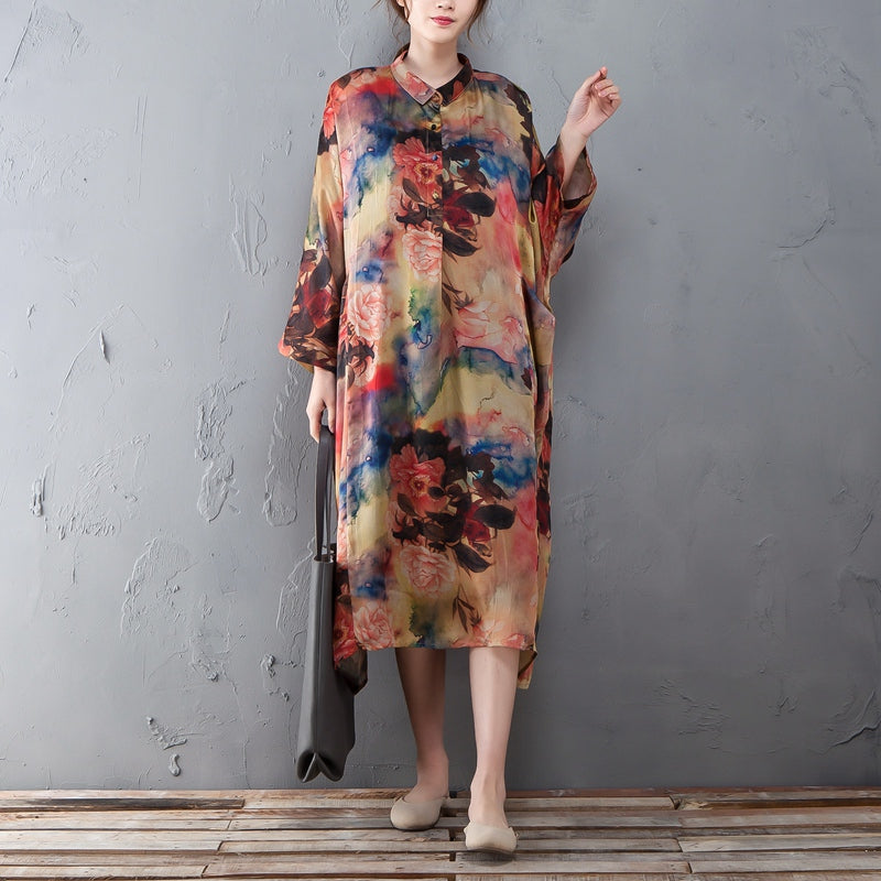 Polo Collar Long Sleeve Printed Retro Loose Dress - Buykud