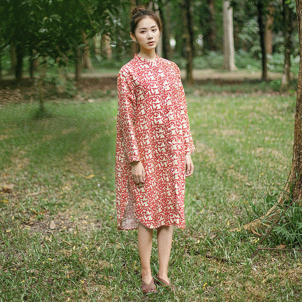 Casual Loose Vintage Printing Cotton Splitting Long Sleeves Dress - Buykud