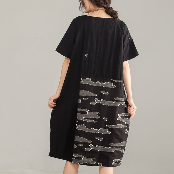 Cotton Linen Women Short Sleeve Round Neck Black Dress - Buykud