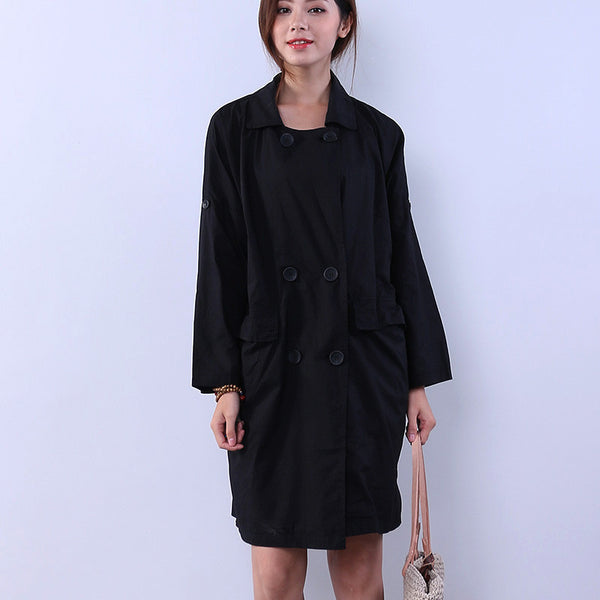 Loose Women Button Cotton Casual Pocket Black Shirt