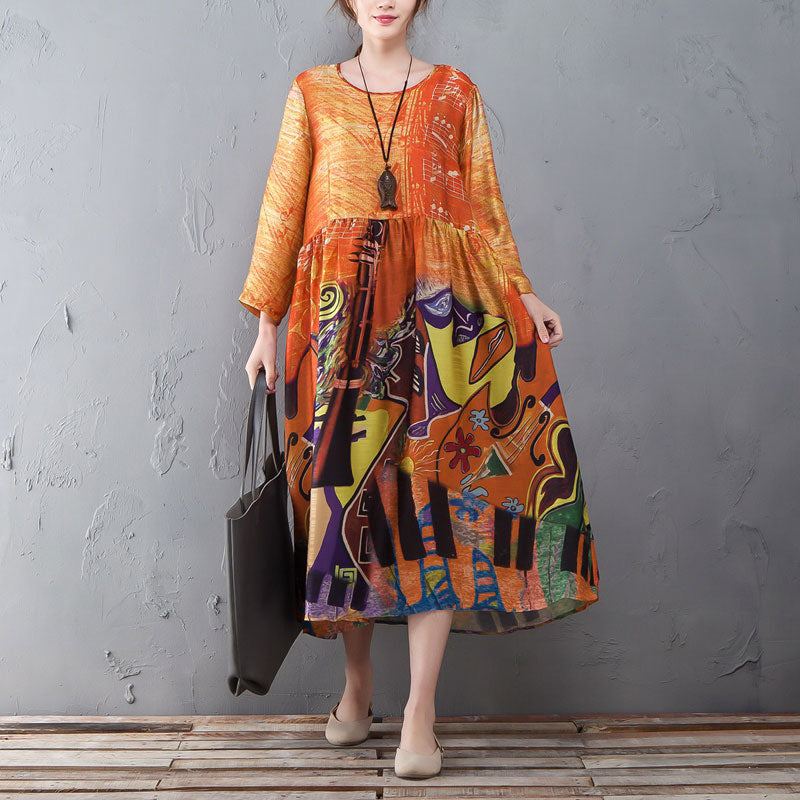 Retro Round Neck Long Sleeve Printed Spring Summer Dress - Buykud