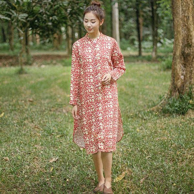 Vintage Casual Loose Printing Cotton Splitting Long Sleeves Dress
