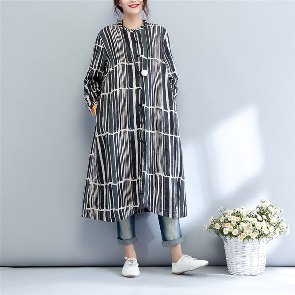 Printing Stand Collar Autumn Long Sleeve Casual Dress For Women - Buykud