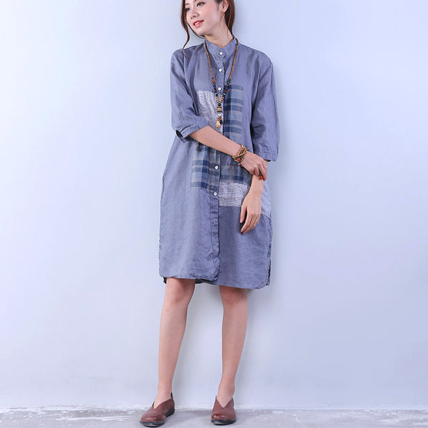 Loose Women Pocket Button Splicing Gray Dress - Buykud