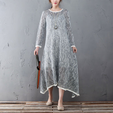 Casual Round Neck Long Sleeve Gray And White Dress - Buykud