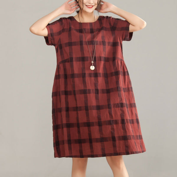 Round Neck Short Sleeve Red Plaid Cotton Linen Dress - Buykud