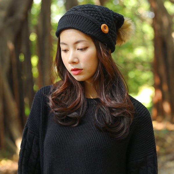 Chic Women Jacquard Black Button Splicing Knitted Hat - Buykud