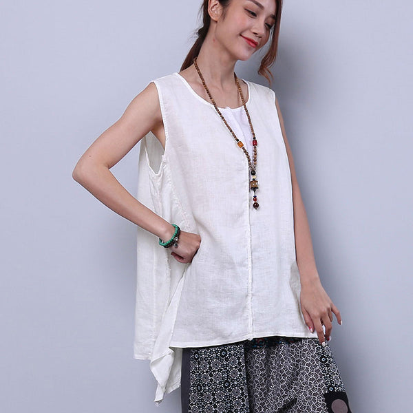 Loose Irregular Summer Women Casual Splicing Sweet White Shirt