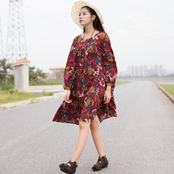 Retro Women Printing Cotton Long Sleeves Red Flower Dress