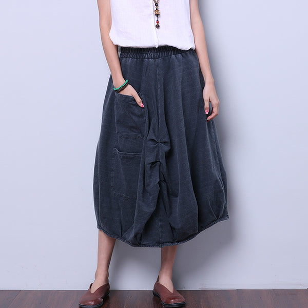 Solid Simple Cotton Women Gray Skirt