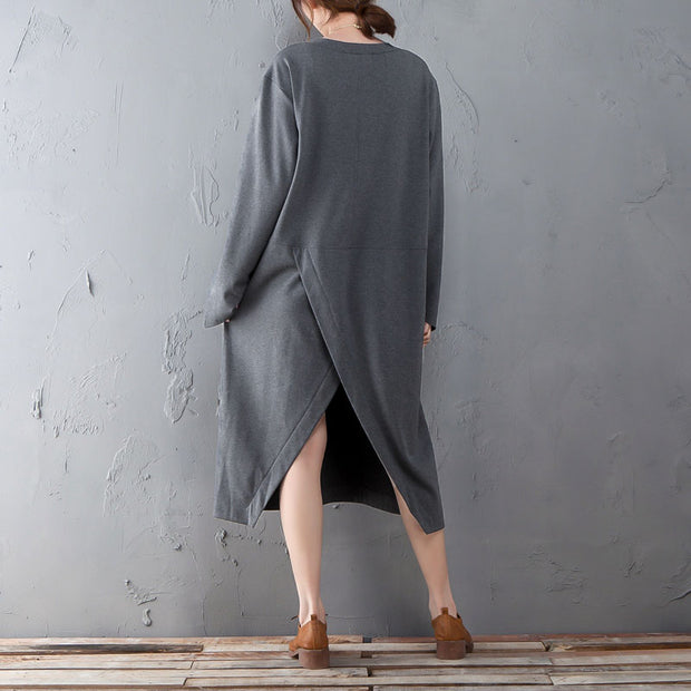 Spring Autumn Round Neck Long Sleeve Gray Split Dress - Buykud