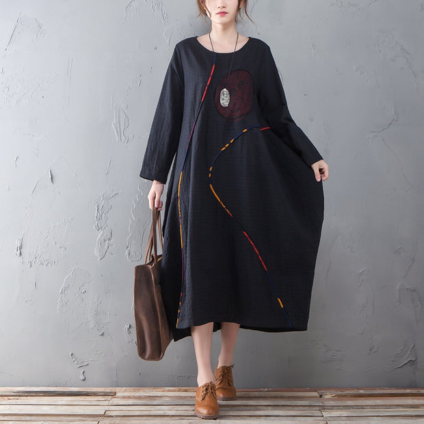 Loose Long Sleeve Round Neck Splicing Black Dress - Buykud