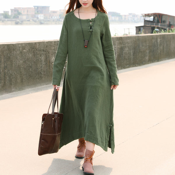 Women Retro Long Sleeve Pockets Frogs Side Slit Green Dress - Buykud
