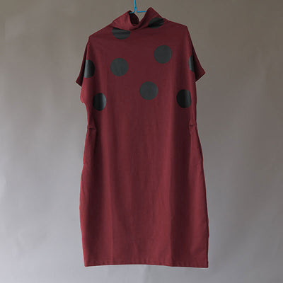 Casual Loose Women Cotton Short Sleeve Dots Dress - Buykud