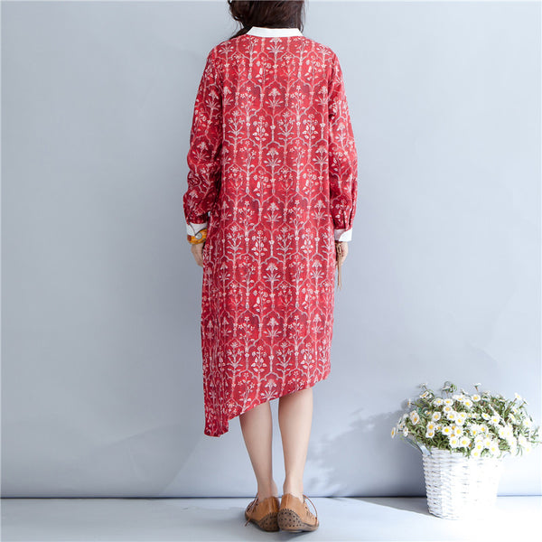 Printing Stand Collar Autumn Long Sleeve Red Dress For Women - Buykud