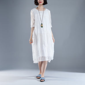 Flower Summer Fake Two-piece Retro White Dress