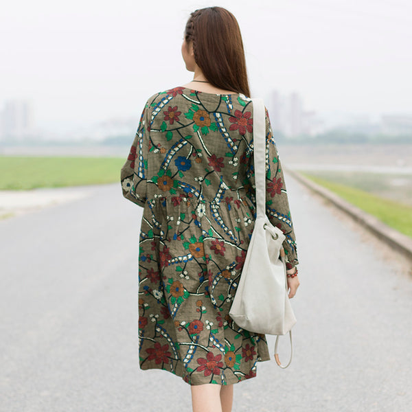 Vintage Floral Cotton Long Sleeves Gray Yellow Dress - Buykud