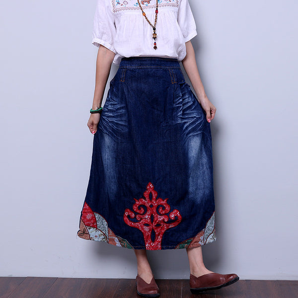 Women Applique Pocket Denim Skirt