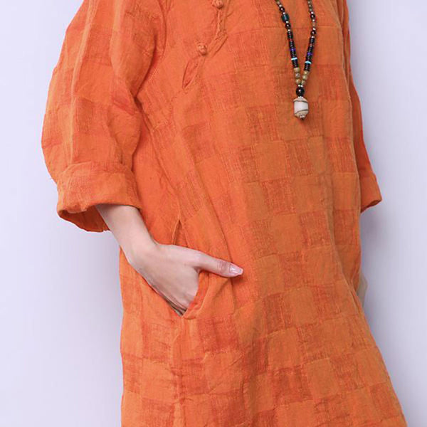 Retro Loose Women Casual Linen Lattice Frog Orange Dress - Buykud