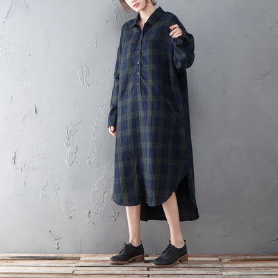 Irregular Polo Collar Long Sleeve Lattice Pullover Dress - Buykud