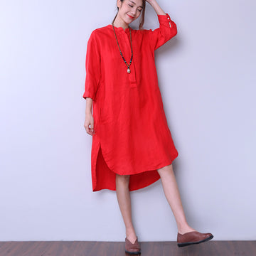 Loose Women Casual Cotton Irregular Splitting Red Dress - Buykud