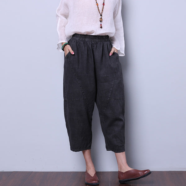 Loose Women Solid Gray Pants