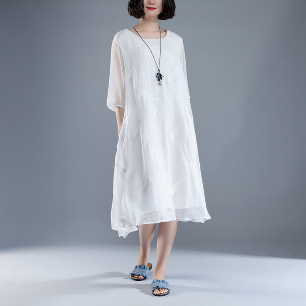 Casual Summer Fake Two-piece White Retro Dress