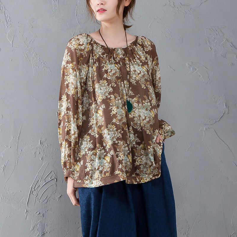 Retro Floral Printed Women Long Sleeve Round Neck Shirt - Buykud