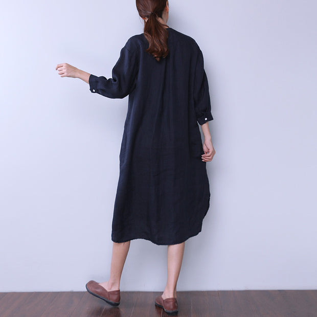 Loose Women Casual Cotton Irregular Splitting Navy Blue Dress - Buykud