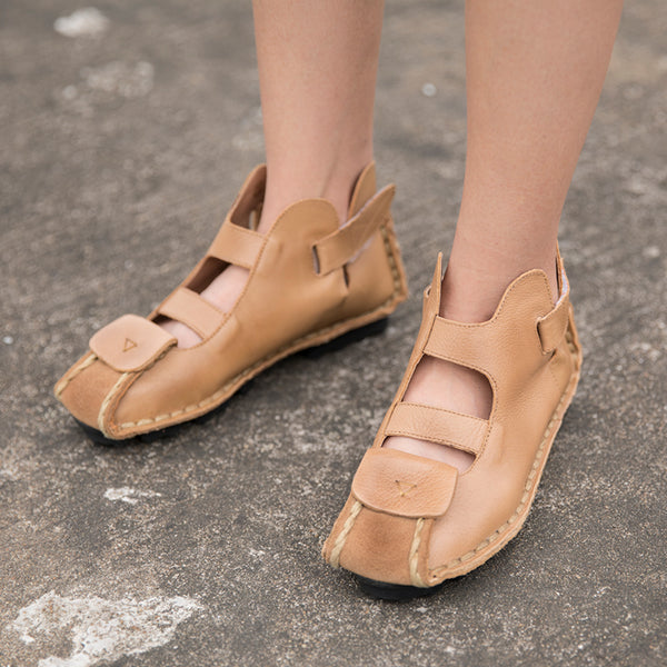 Stylish Leather Retro Wild Women Beige Sandals - Buykud